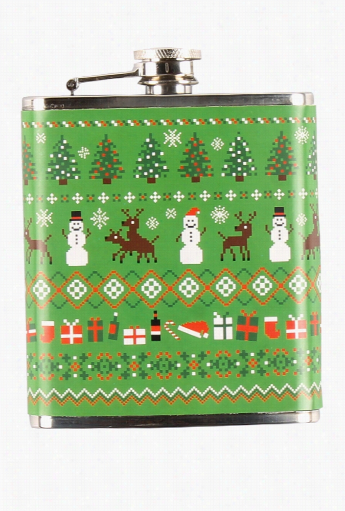 Humping Reindeer Fair Isle Christmas Flask by Tipsy Elves