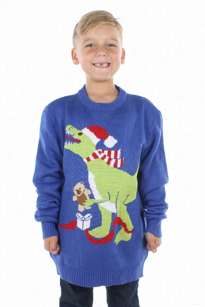 Kids Christmas Sweaters - Boy's T-Rex Sweater by Tipsy Elves