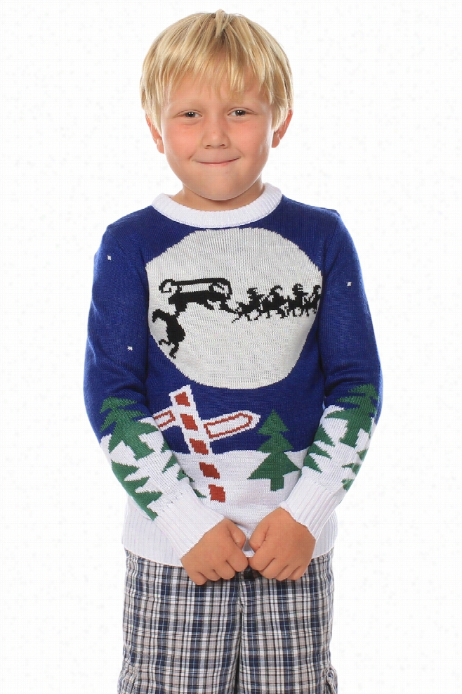 Kids Christmas Sweaters - Youth Runaway Sleigh Sweater by Tipsy Elves