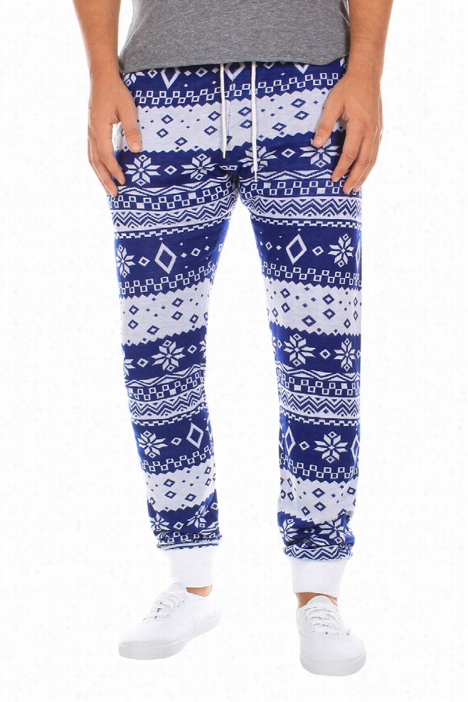 Swants - Men's Blue and White Joggers by Tipsy Elves
