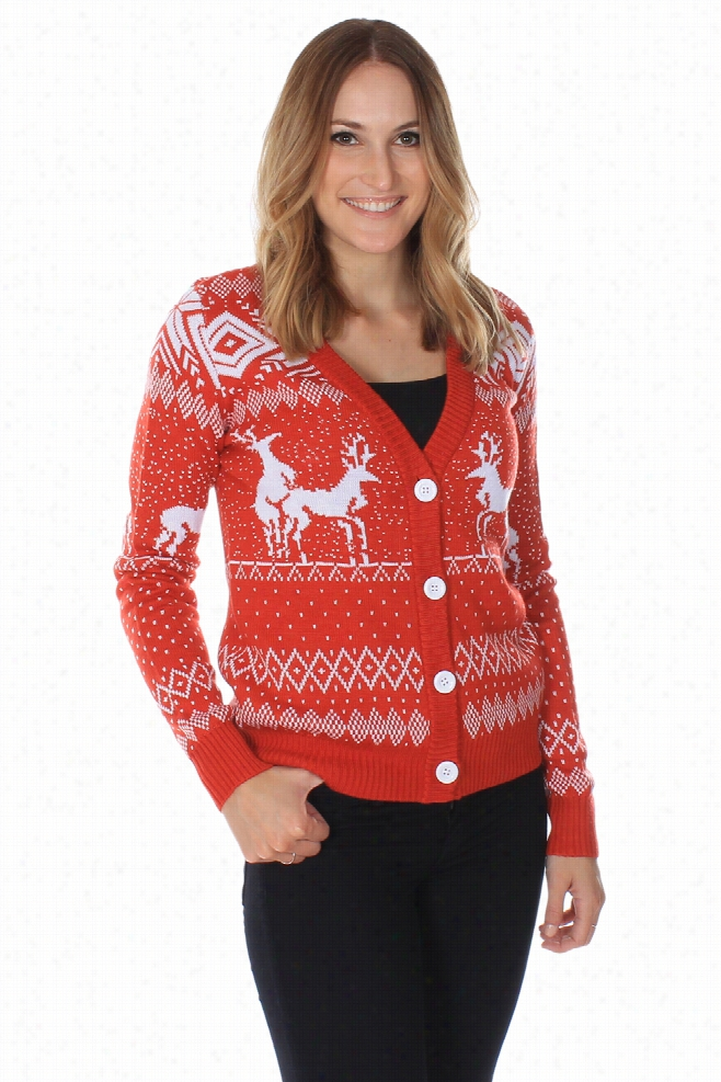 Tacky Christmas Sweaters - Women's Reindeer Double Date Cardigan (Red) by Tipsy Elves
