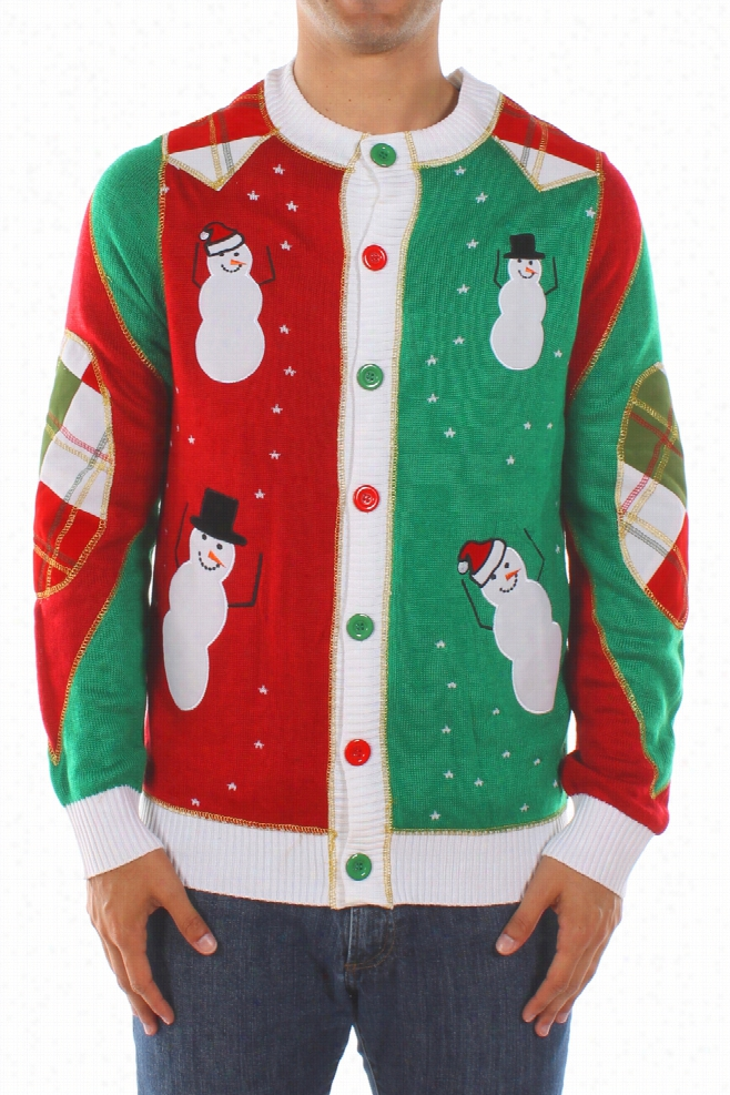 Ugly Christmas Sweaters - Men's Dancing Snowmen Cardigan w/ Elbow Patches by Tipsy Elves