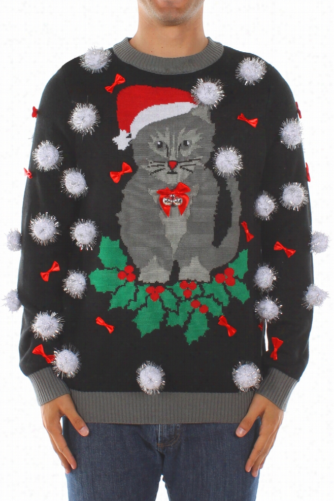 Ugly Christmas Sweaters - Men's Ugly Cat Sweater with Bells by Tipsy Elves