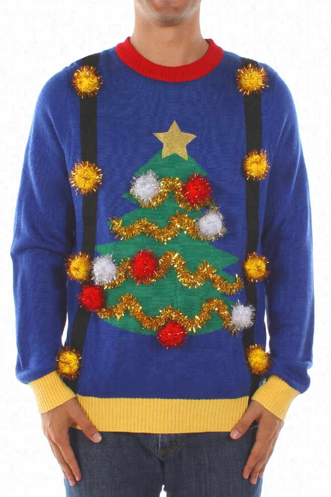 Ugly Christmas Sweaters - Men's Ugly Christmas Tree Sweater with Suspenders by Tipsy Elves