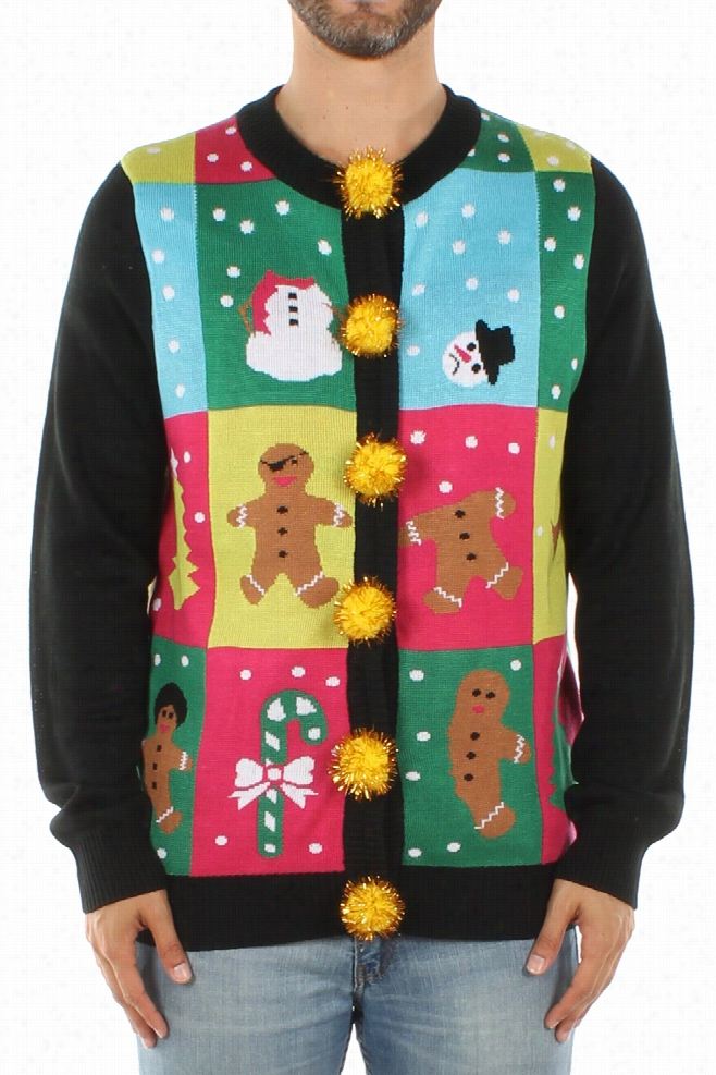 Ugly Christmas Sweaters - Men's Ugly Patchwork Cardigan by Tipsy Elves