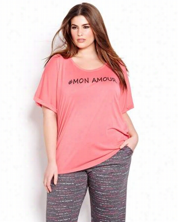 Bonne Nuit Short Rolled Sleeve PJ Top.medium coral.X