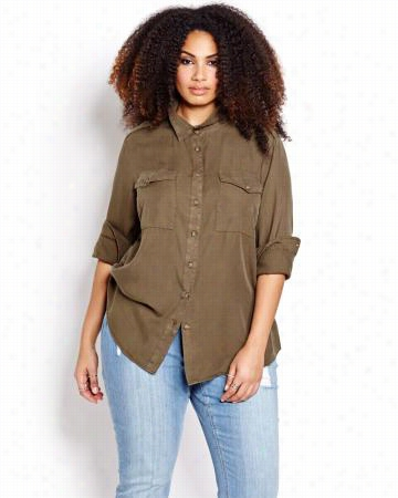 L&L Long Sleeve Utility Blouse.olive.14