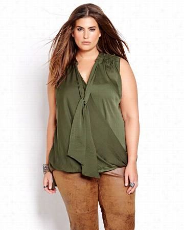 L&L Sleeveless Blouse With Deep V-Neck.moss green.24