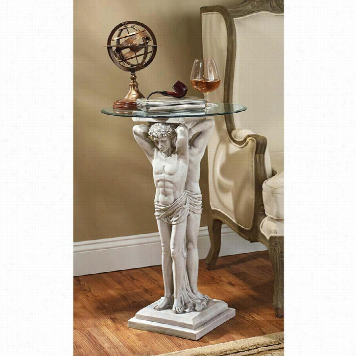Hermitage Atlantes Glass-Topped Pedestal Table