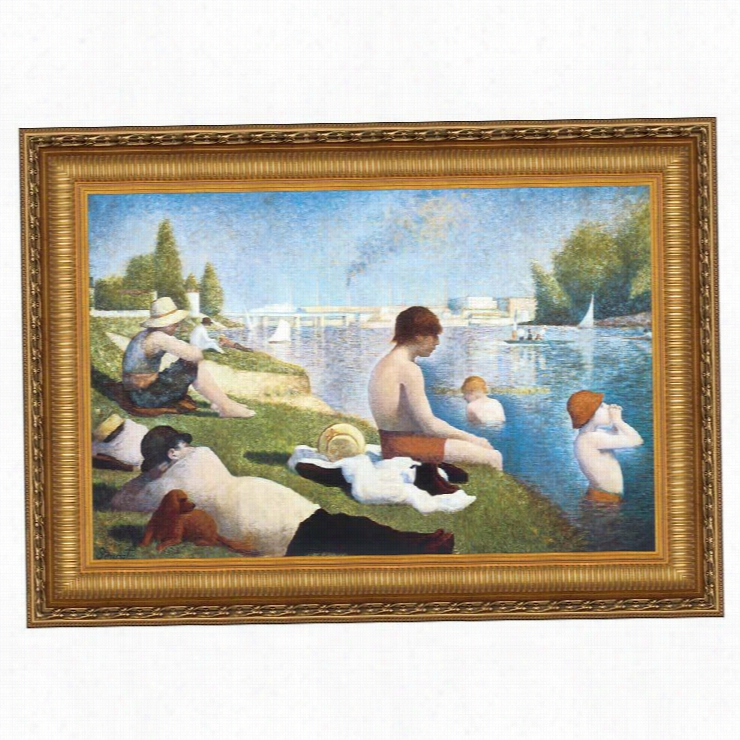 Bathing at Asnières, 1883: Canvas Replica Painting: Medium