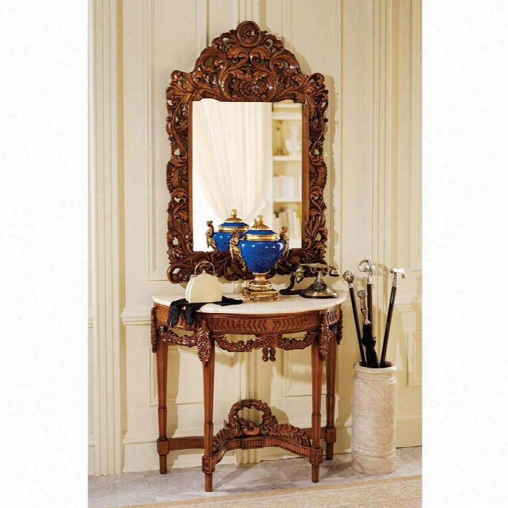 Chateau Gallet Marble Topped Hardwood Table With Mirror