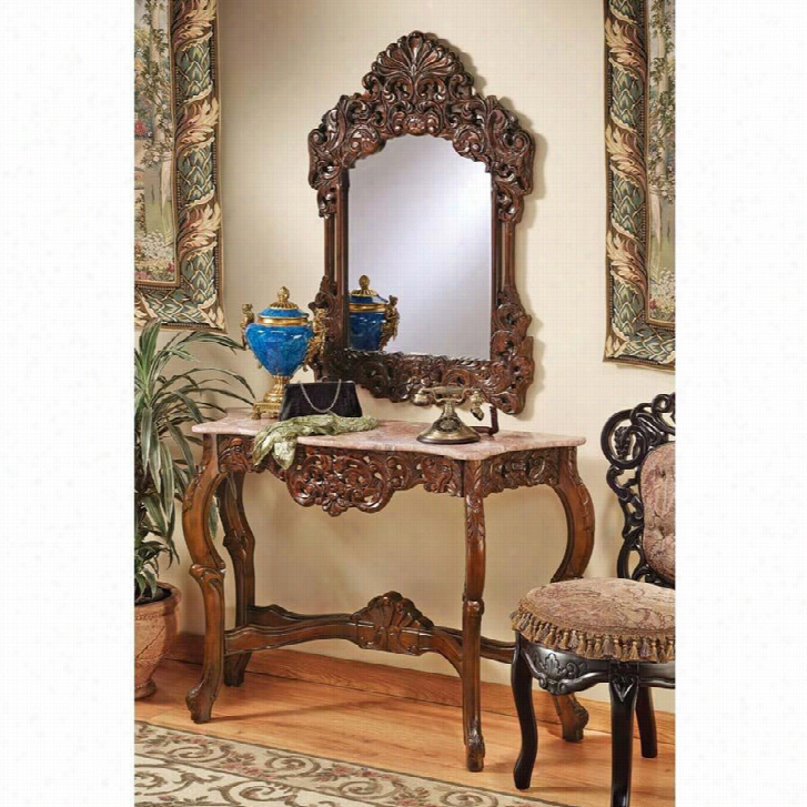 The Dordogne Mirror and Marble-Topped Console Table Set