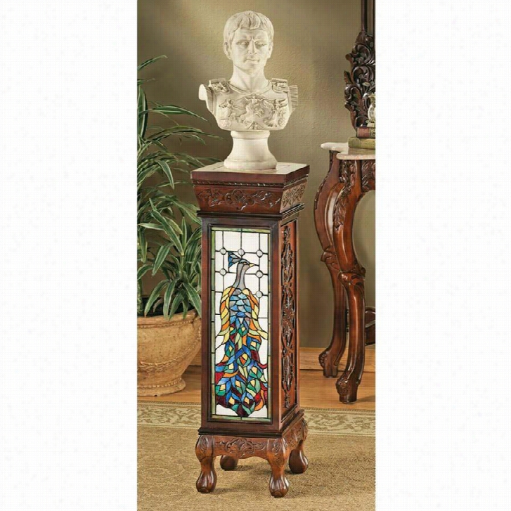 Peacock Stained Glass Illuminated Hand-Carved Pedestal