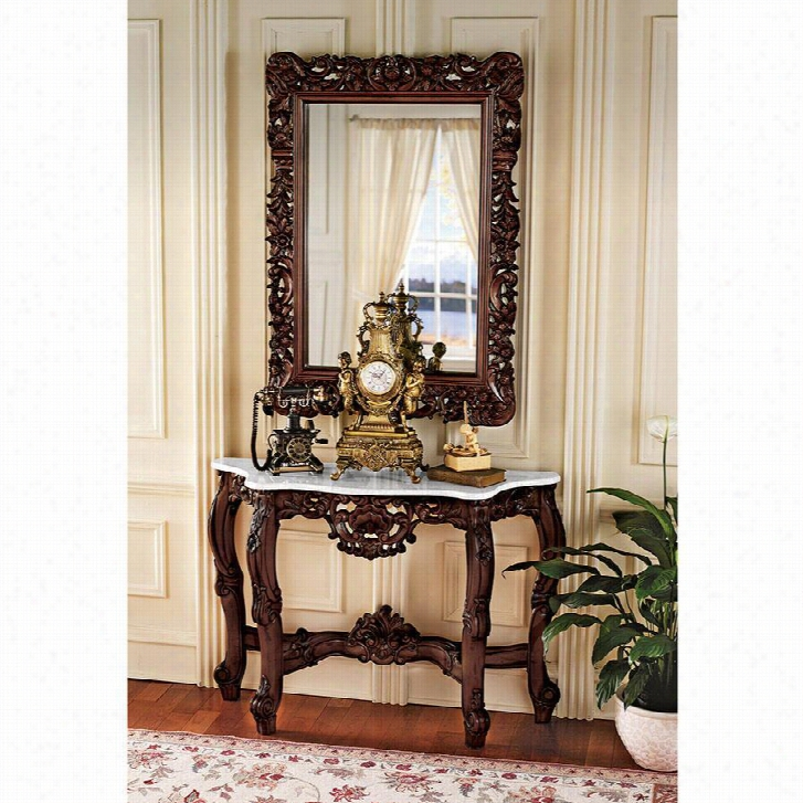 The Royal Baroque Mirror and Marble-Topped Console Table