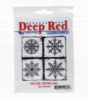 Deep Red Stamps Cling Stamp-Frosted Snowflakes
