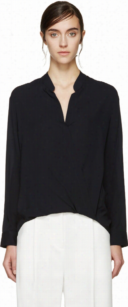 3.1 Phillip Lim Navy Silk Draped Blouse