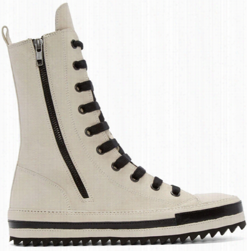 Ann Demeulemeester Ivory Leather High-top Sneakers