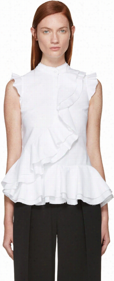 Erdem White Ruffled Camelia Blouse