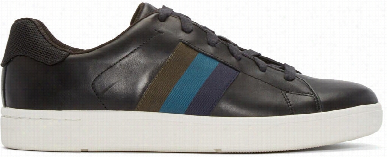 Paul Smith Jeans Black Leather Lawn Low-top Sneakers