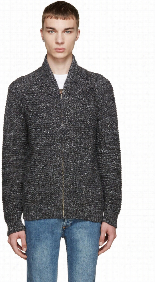 Paul Smith Jeans Grey Zip-up Sweater