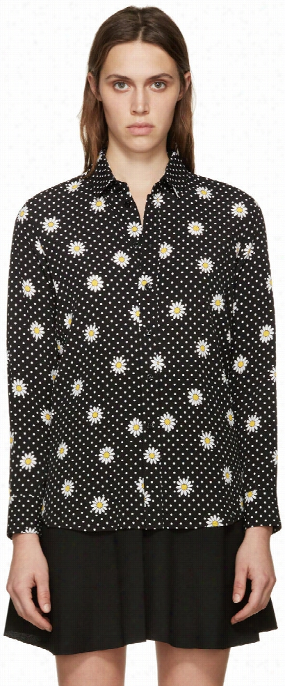 Saint Laurent Black Daisy Print Blouse