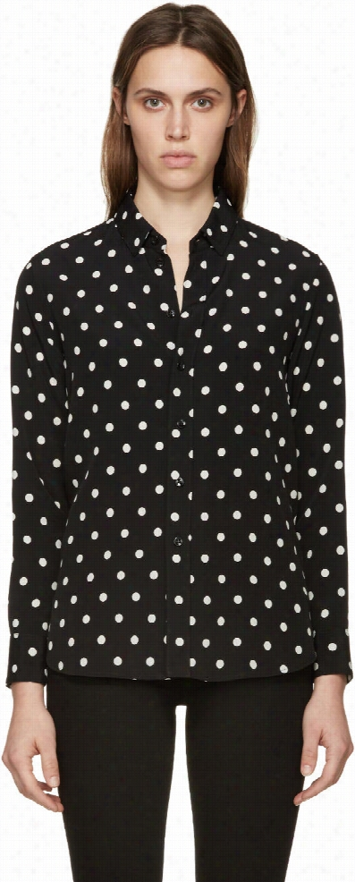 Saint Laurent Black Polka Dot Blouse