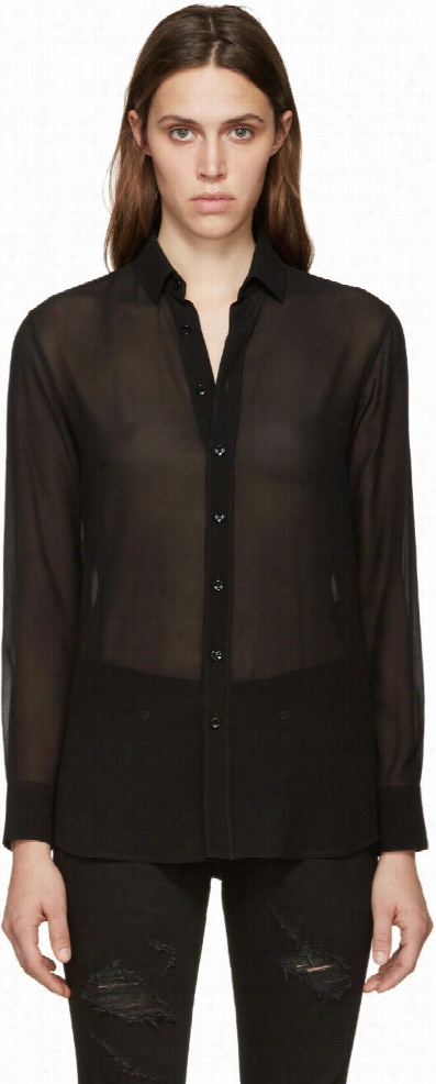 Saint Laurent Black Silk Georgette Blouse