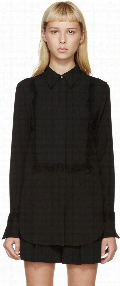 3.1 Phillip Lim Black Silk Eyelash Fringe Blouse