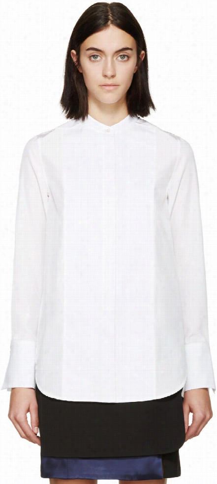 3.1 Phillip Lim Cream and White Tuxedo Blouse