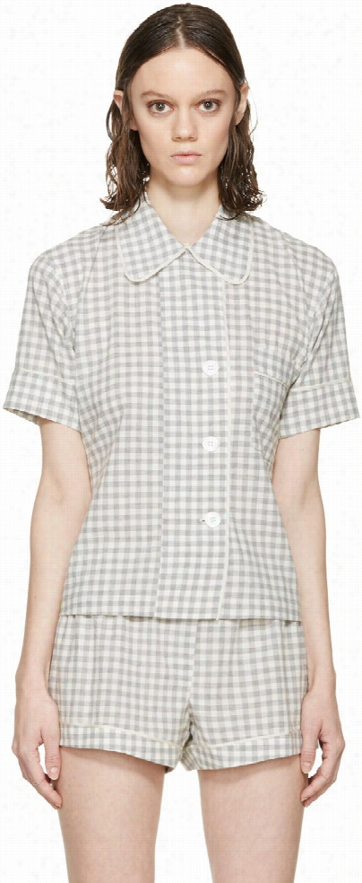 Araks Grey Gingham Pyjama Shelby Blouse