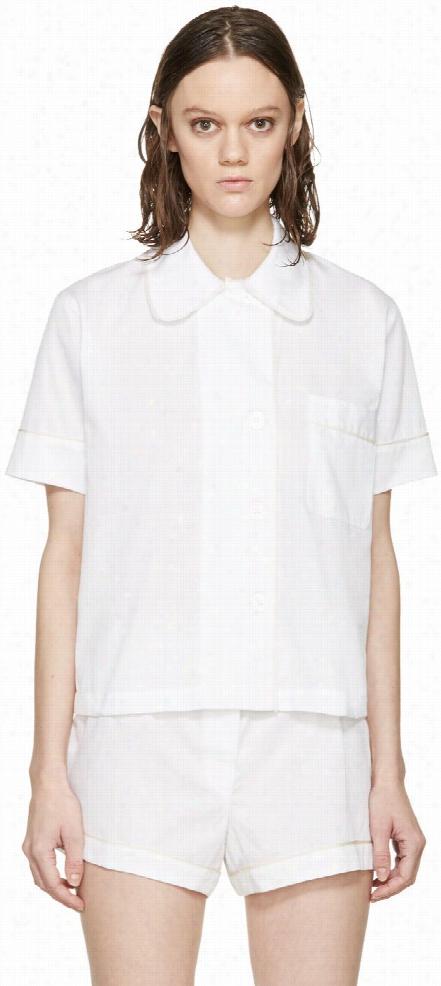 Araks White Jacquard Pyjama Shelby Blouse