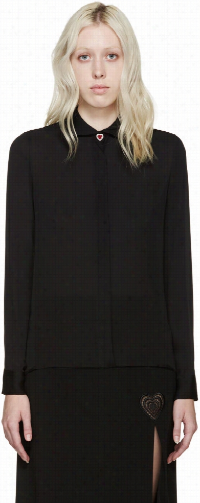 Christopher Kane Black Silk Jewel Heart Blouse