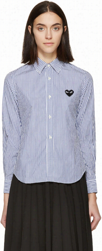 Comme Des Garçons Play Blue and White Striped Poplin Blouse