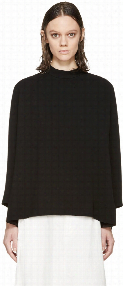 Enfold Black Crepe Drape Blouse