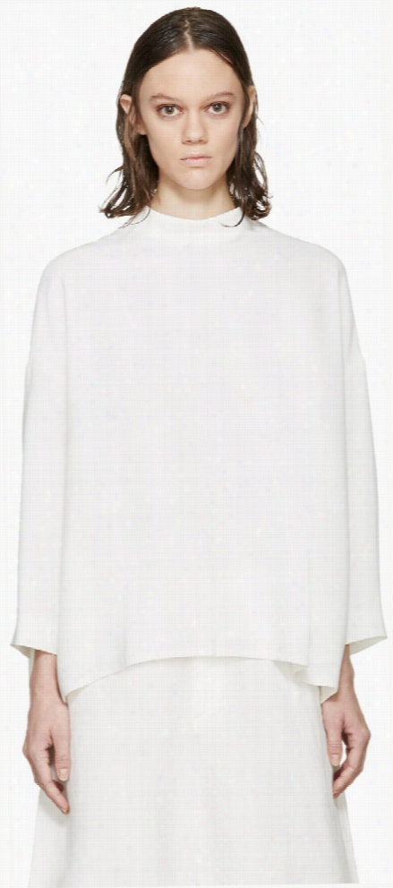 Enfold Ivory Crepe Draped Blouse
