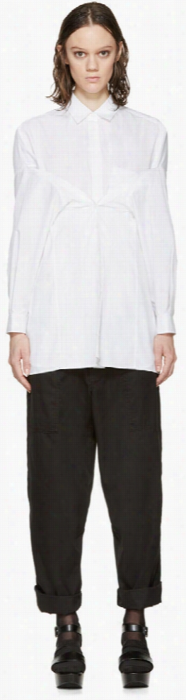 Enfold White Poplin Many Way Blouse