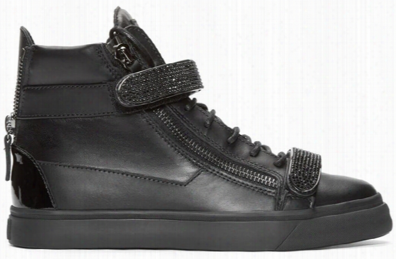 Giuseppe Zanotti Black Studded High-top London Sneakers
