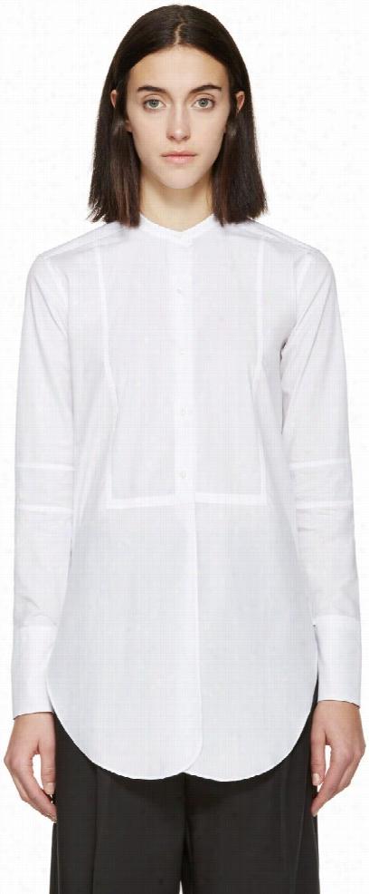 Helmut Lang White Poplin Tuxedo Blouse