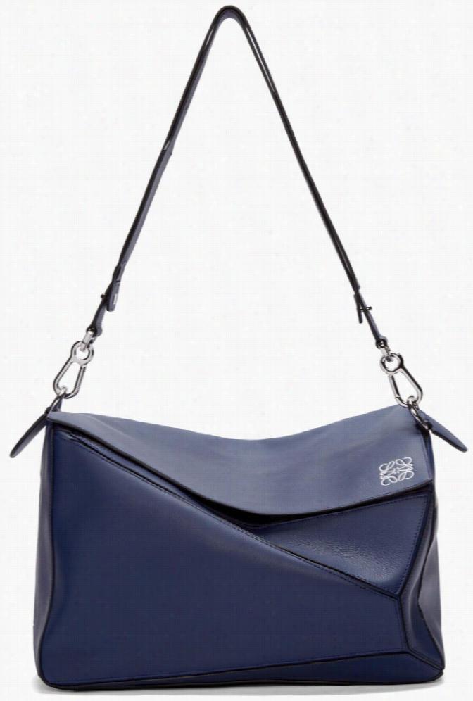 Loewe Navy Leather Extra Large Puzzle Bag