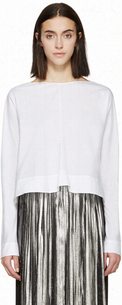 Marni White Flared Poplin Blouse