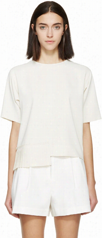 Mm6 Maison Margiela Beige Pleated Hem Blouse