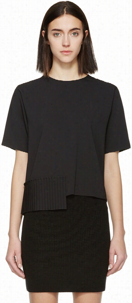 Mm6 Maison Margiela Black Pleated Hem Blouse
