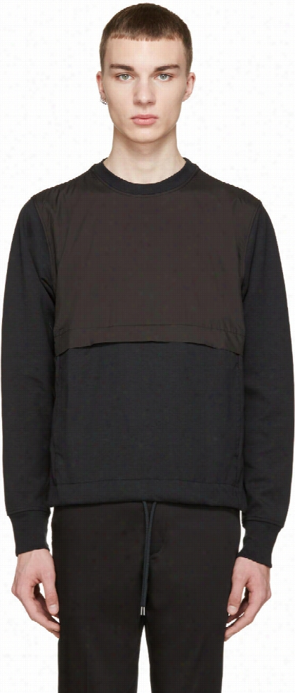 Paul Smith Jeans Black Nylon Panel Pullover
