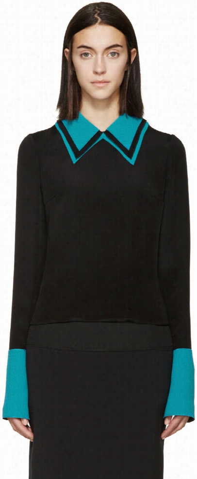 Roksanda Black and Turquoise Silk Cady Blouse