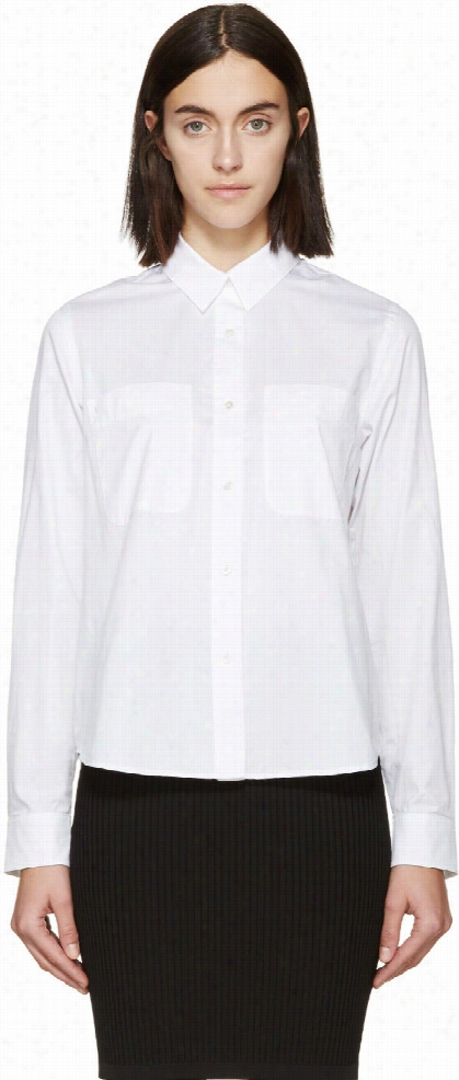 T By Alexander Wang White Poplin Blouse