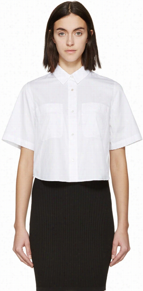 T By Alexander Wang White Poplin Cropped Blouse