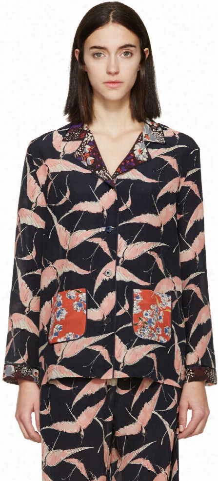 Valentino Navy and Pink Crepe Patterned Pyjama Blouse