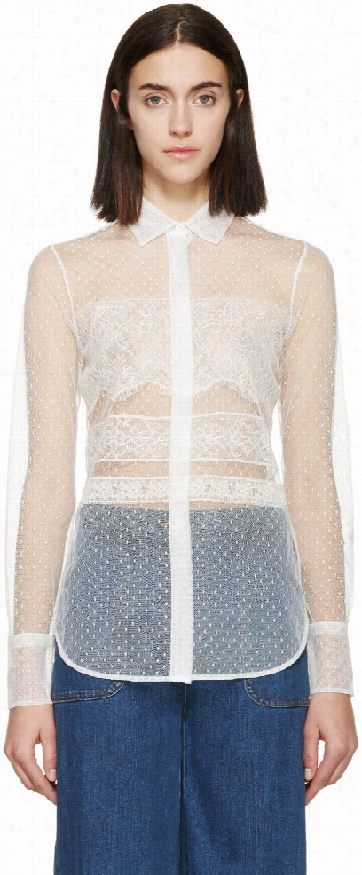 Valentino White Lace Point Desprit Blouse