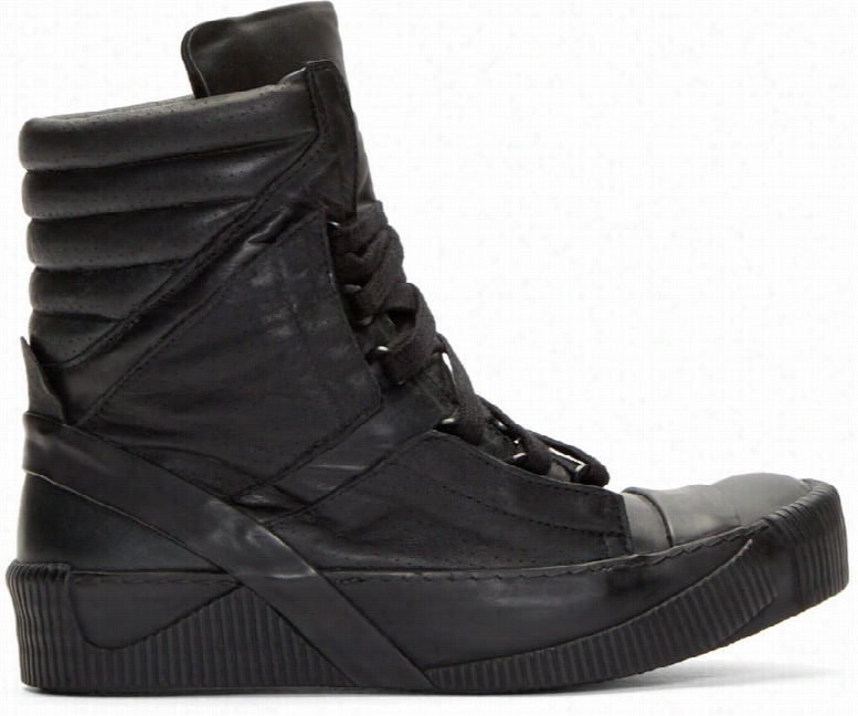 Boris Bidjan Saberi Black Calf Leather Bamba 4 Sneakers
