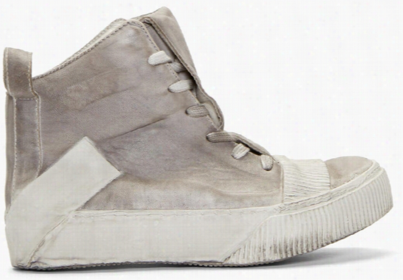 Boris Bidjan Saberi Grey Lamb Leather Bamba 1 Sneakers